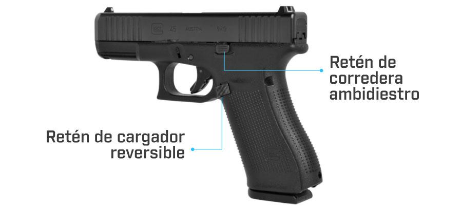reten de corredera y cargador glock 45