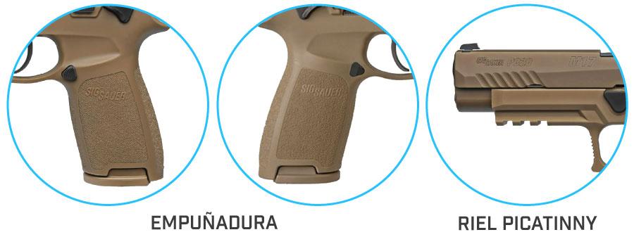 empuñadura pistola sig sauer p320 m17 ms