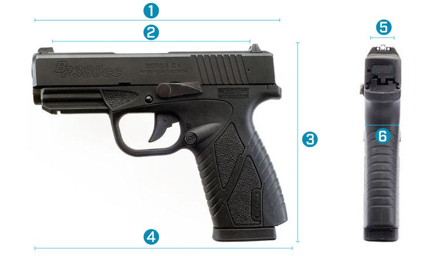 medidas del arma bersa bp380cc