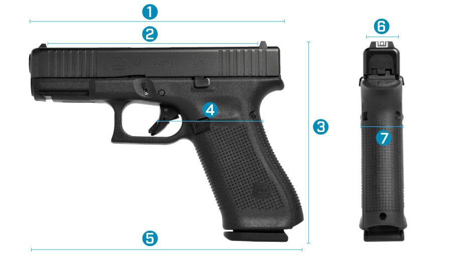 medidas del arma glock 45 generacion 5