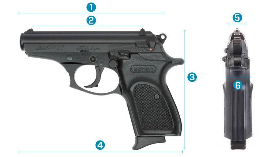 medidas del arma bersa thunder .22