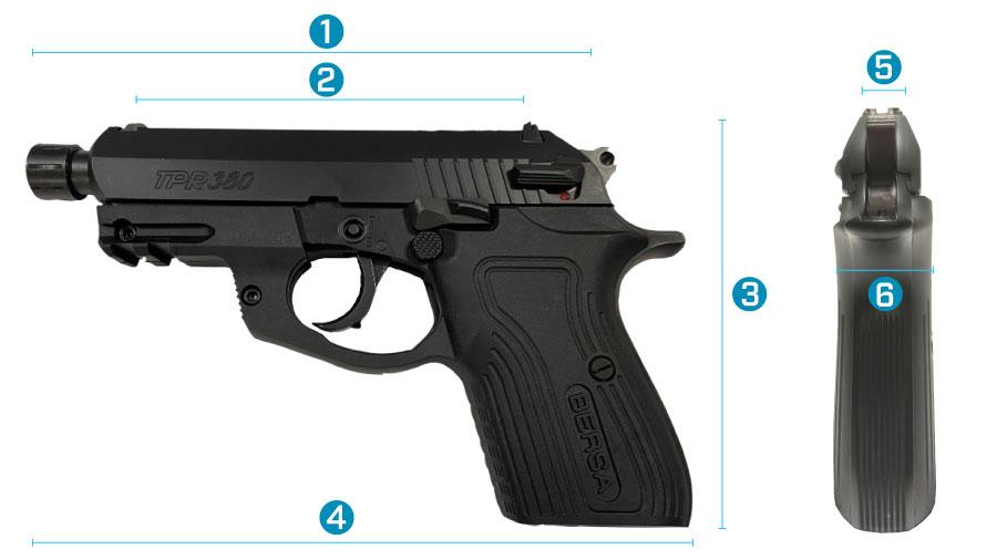 medidas del arma bersa tpr 380 x