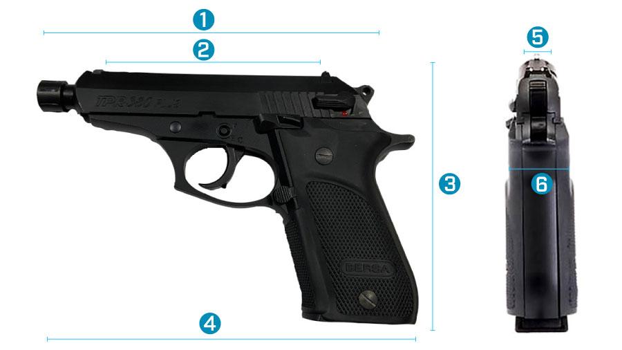 medidas del arma bersa tpr 380 plus x