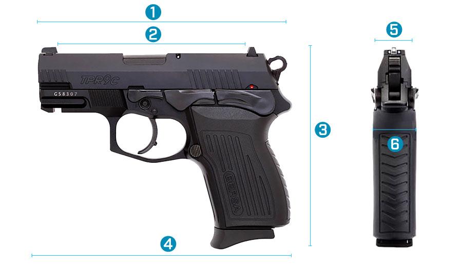medidas del arma bersa tpr 9c