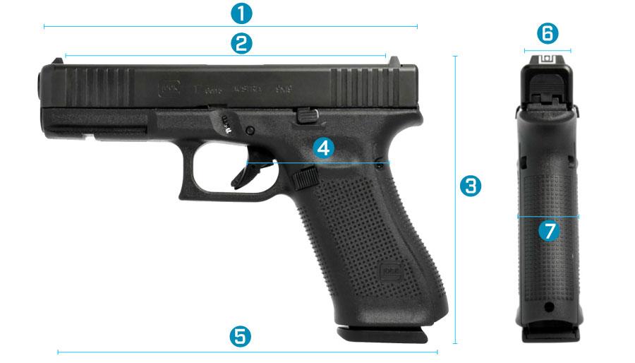 medidas del arma glock 17 generacion 5