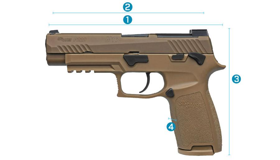 medidas del arma sig sauer p320 m17 con seguro manual